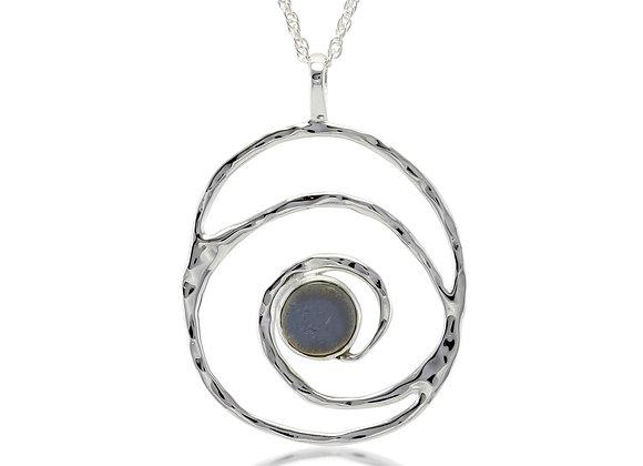 Sterling Silver Labradorite Spiral Pendant