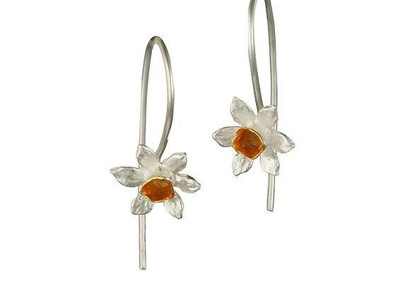 Daffodil Hook Earrings in Sterling Silver