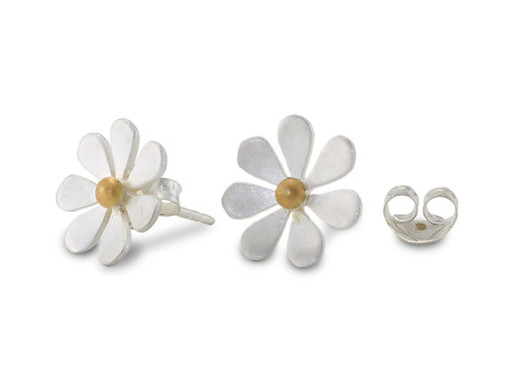 Satin Silver Daisy Stud Earrings