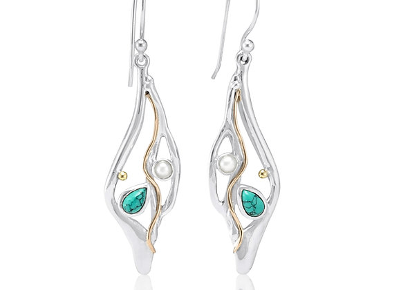 Molten Silver Drop Earrings with Turquoise and Pearl