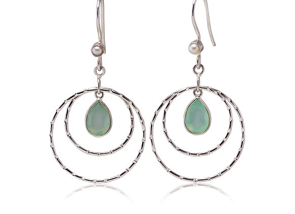 Sterling Silver Dangle Hoops Earrings with Aqua Chalcedony