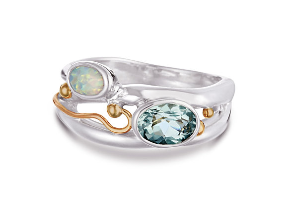 Blue Topaz & Opal Ring in Sterling Silver with Gold Details