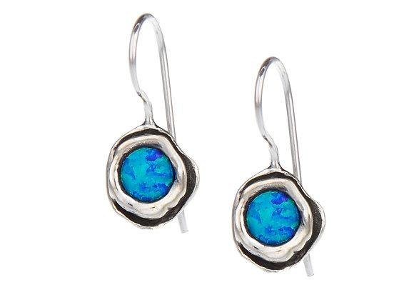 Sterling Silver Earrings with Blue Opal