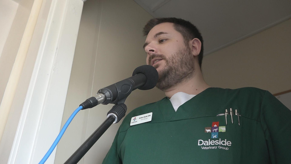 Nathan Booth records the voice-over for Daleside Vets