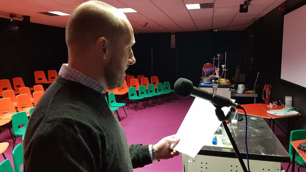 Iwan Thomas recording voice-over