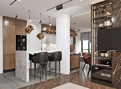 интерьераная визуализация кухни-гостиной