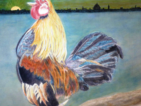 THE COCKEREL CROW - Medium - Painting