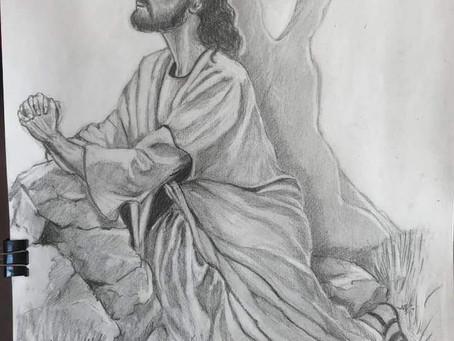 JESUS PRAYING IN THE GARDEN - Medium - Pencil
