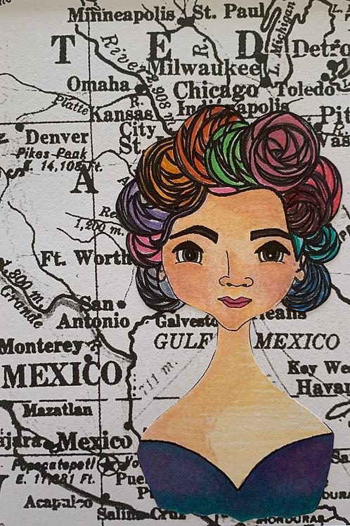 Leading Lady Jovita Idár Watercolor Print, Hand-Embellished & signed by Artist Jen Haefeli