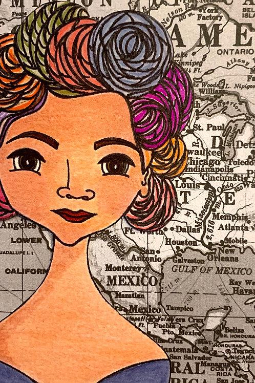 """Defensora"" 4, Leading Lady Jovita Idár Hand-Embellished Watercolor Print by Artist Jen Haefeli"