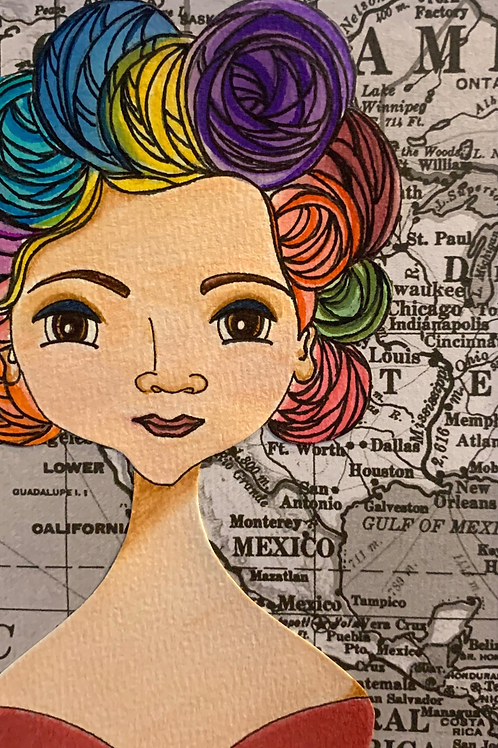 """Defensora"" 3, Leading Lady Jovita Idár Hand-Embellished Watercolor Print by Artist Jen Haefeli"