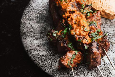 Longreach Organic Lamb & Smoked Tongue Skewers, Harissa