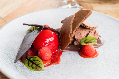 Textures of Chocolate with Rasberry Sorbet