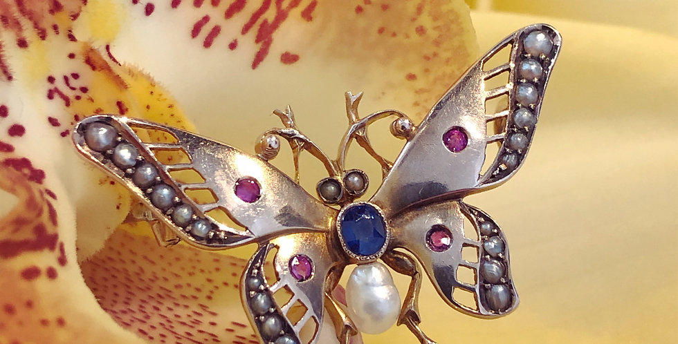 Sapphire and ruby gold butterfly brooch