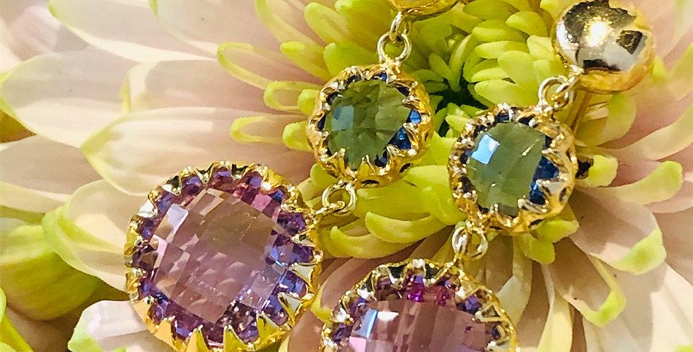 18ct amethyst and quartz earrings