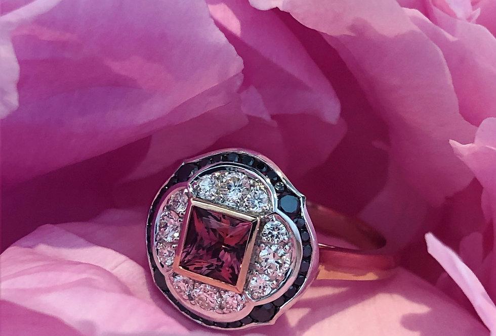 Tourmaline, black and white diamond ring
