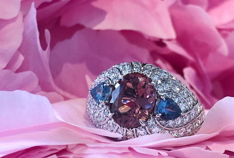 Tourmaline, Aquamarine and diamond ring