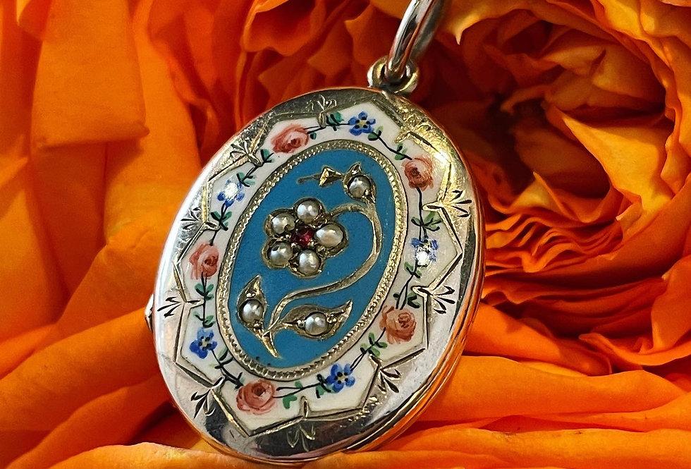 Pretty antique gold and enamel locket