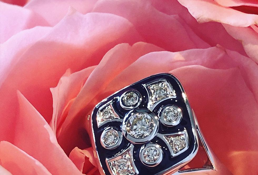 Diamond and blue enamel ring