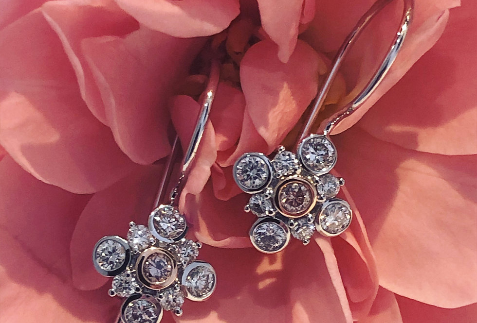 Gorgeous pink and white diamond earrings
