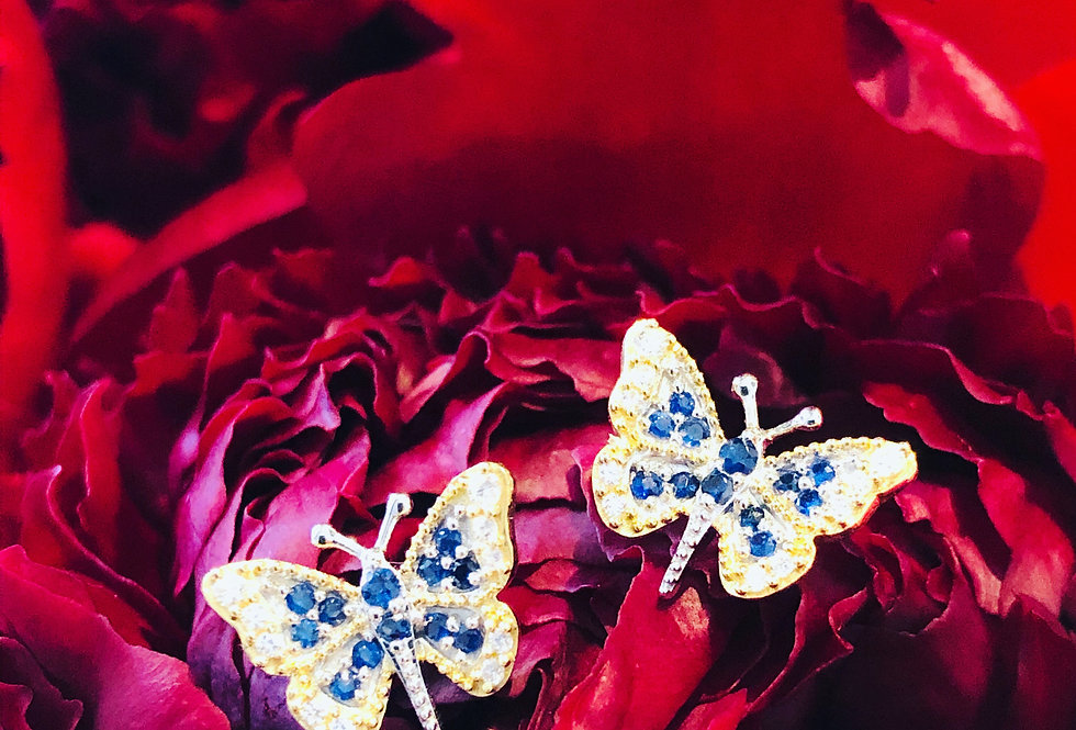 Sapphire And diamond butterfly earrings