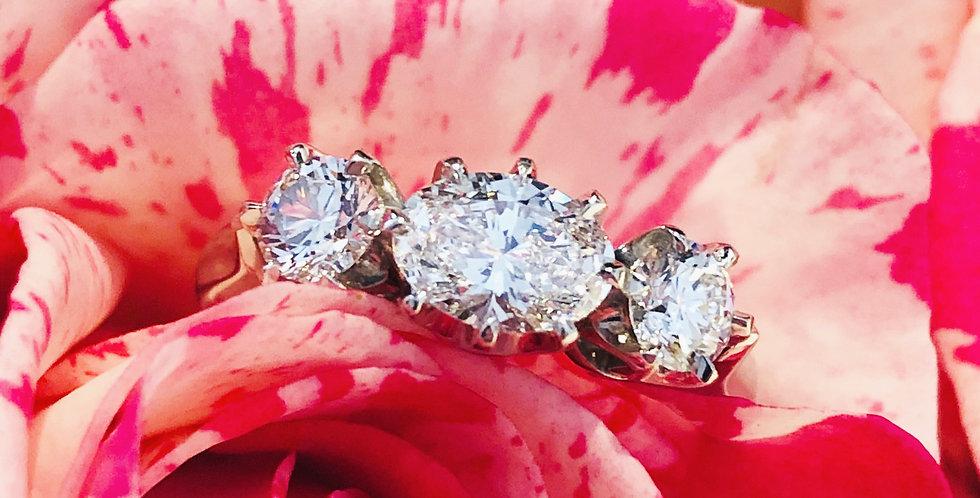 Platinum three diamond ring