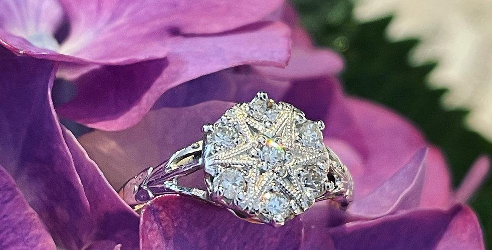 Vintage diamond star cluster ring