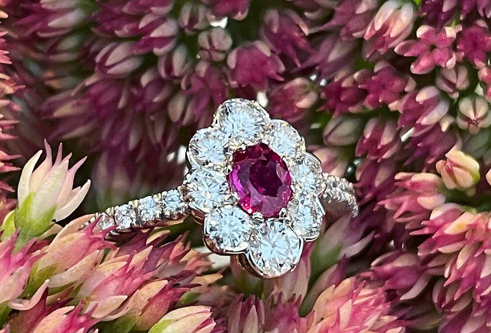 Platinum and 18ct Ruby and Diamond cluster ring
