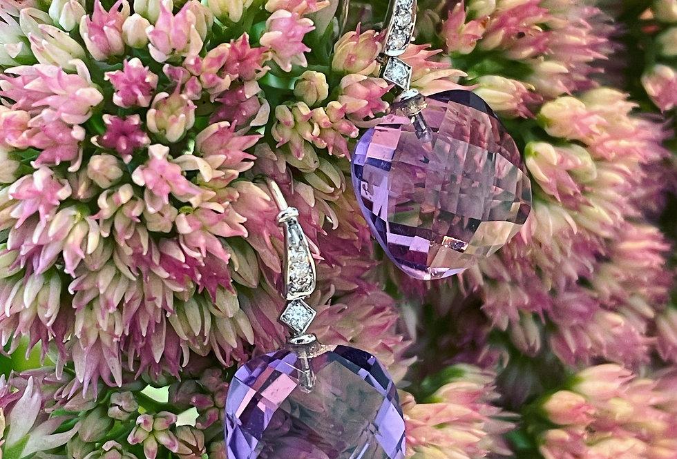 18ct diamond and amethyst earrings
