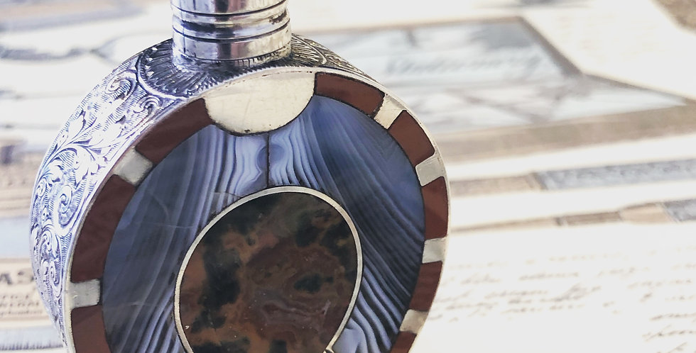 Sterling Scottish agate perfume bottle