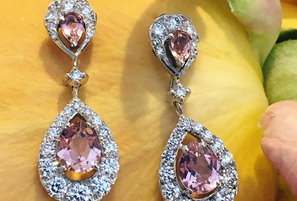 18ct tourmaline and diamond earrings