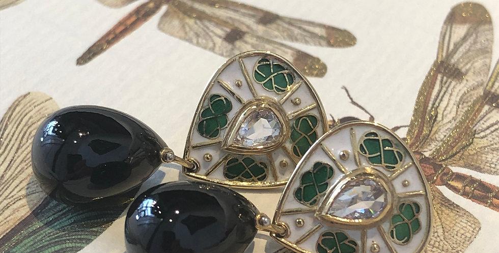 Tourmaline, diamond and enamel earrings