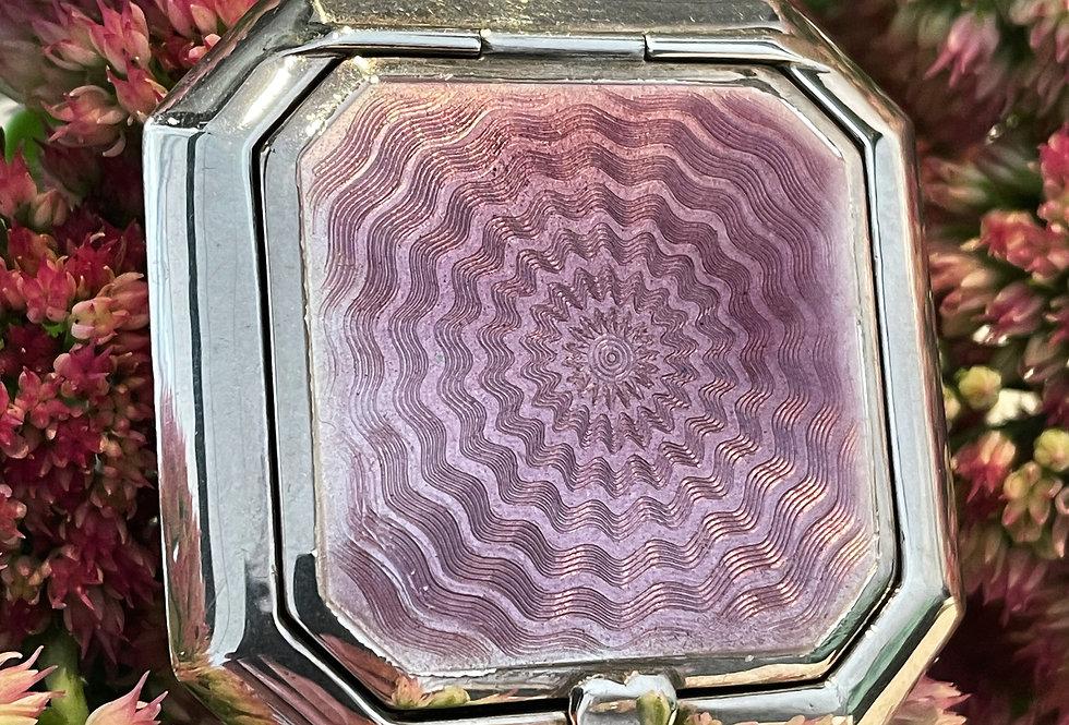 Sterling silver enamel powder compact