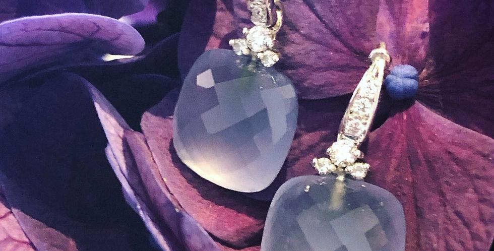 Diamond and lilac chalcedony earrings