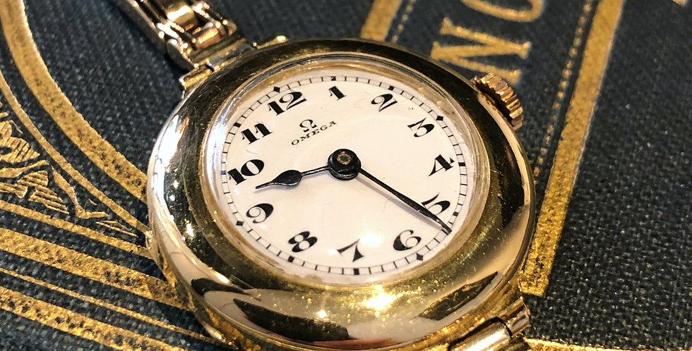 Gold ladies Omega wristwatch