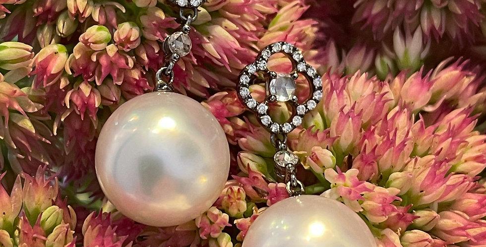 Elegant South Sea pearl and diamond earrings