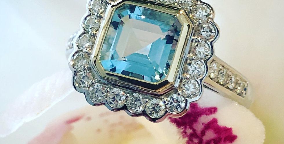Octagonal aquamarine and diamond ring