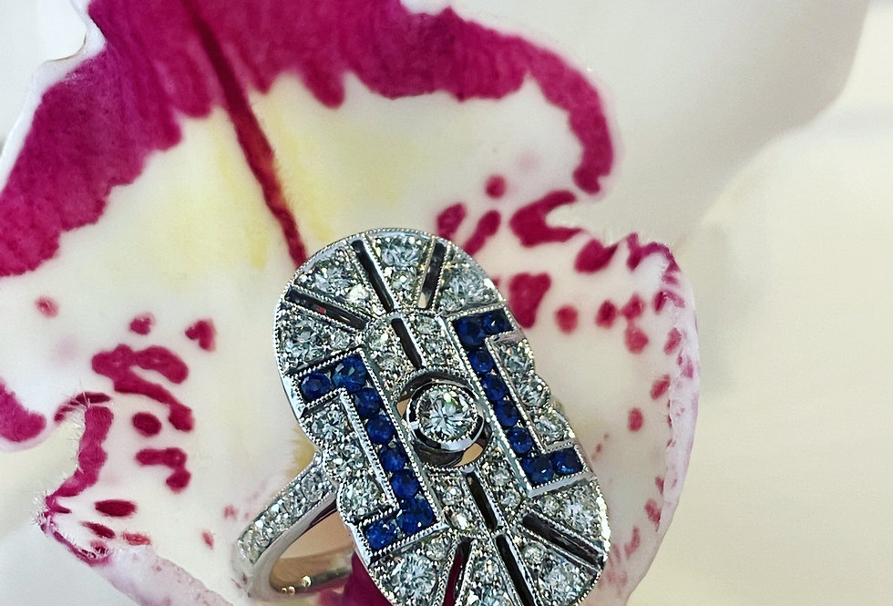 A superb Art Deco style  Sapphire and diamond ring