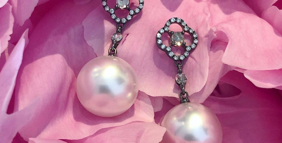 18ct South Sea pearl and diamond earrings