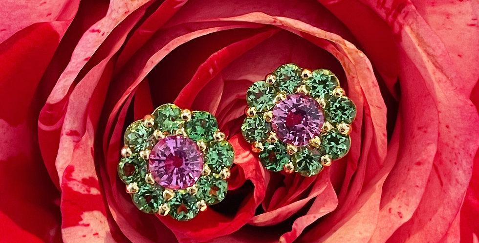 18ct tsavorite garnet and pink sapphire earrings