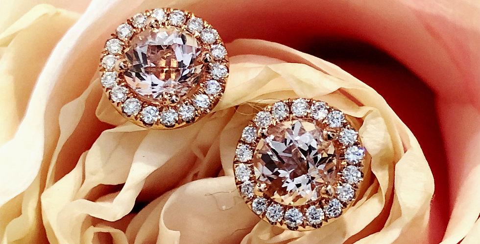 Pretty morganite and diamond halo earrings