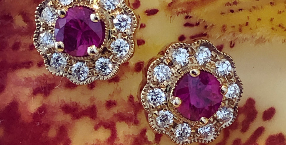 Gold ruby and diamond cluster earrings