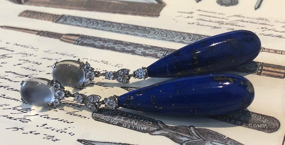 Platinum lapis, moonstone and diamond earrings
