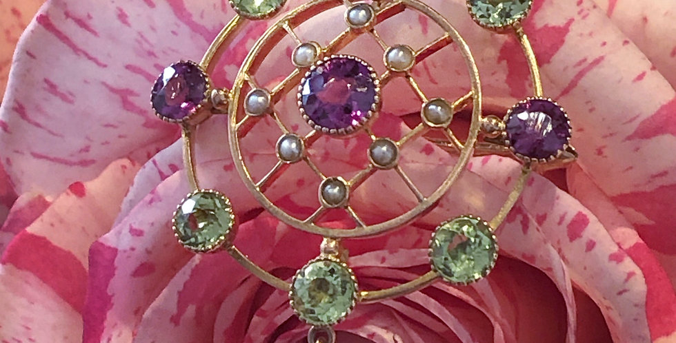 Gold peridot and rhodolite garnet Edwardian pendant
