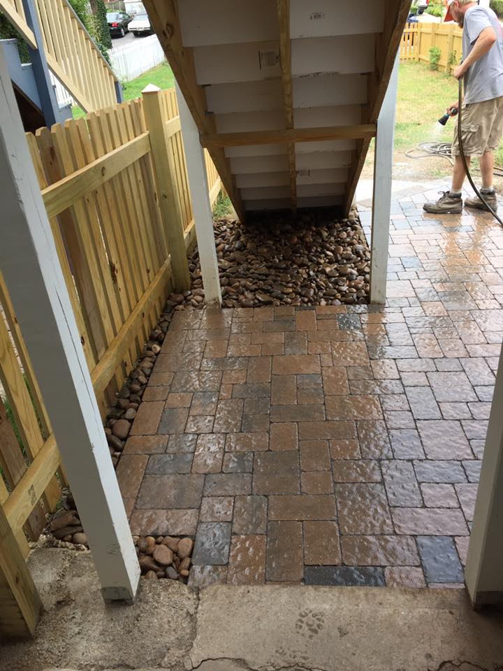 patio under steps complete