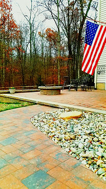 hardscape patio walkway firepit river rock