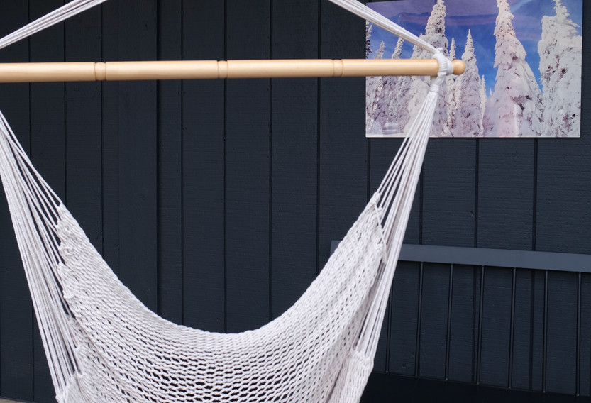 Hanging chair outside guest laundry