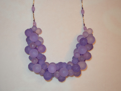 purple bead gemstone quartz round necklace