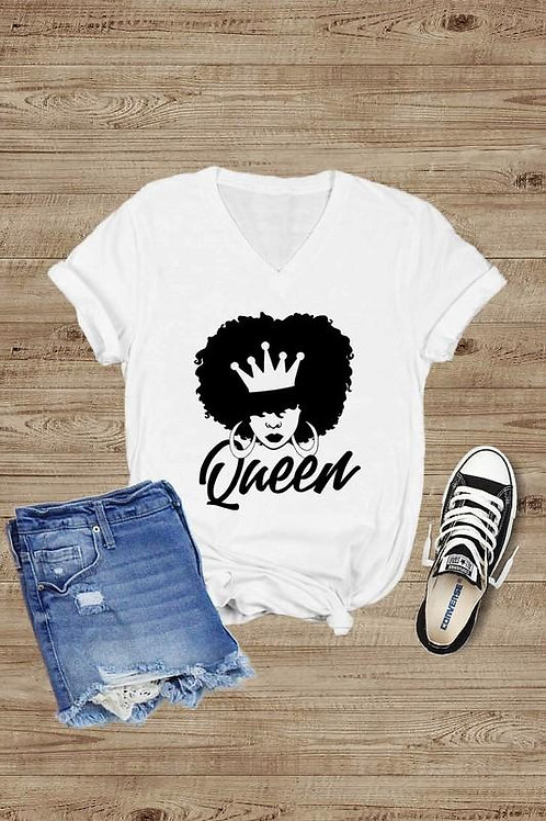 QUEEN Short Sleeve v Neck T-Shirt