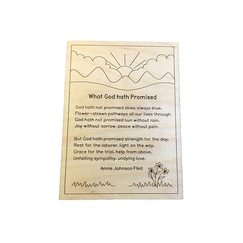 Verse engraved in wood